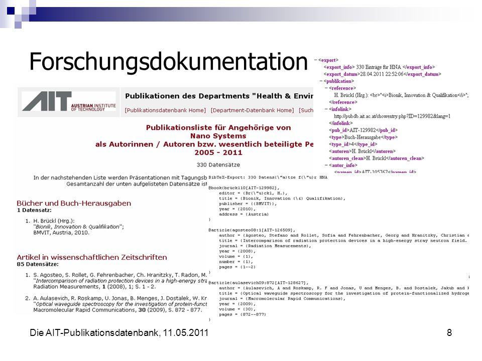 Die AIT-Publikationsdatenbank, 11.05.20119 Integration in AIT-Website