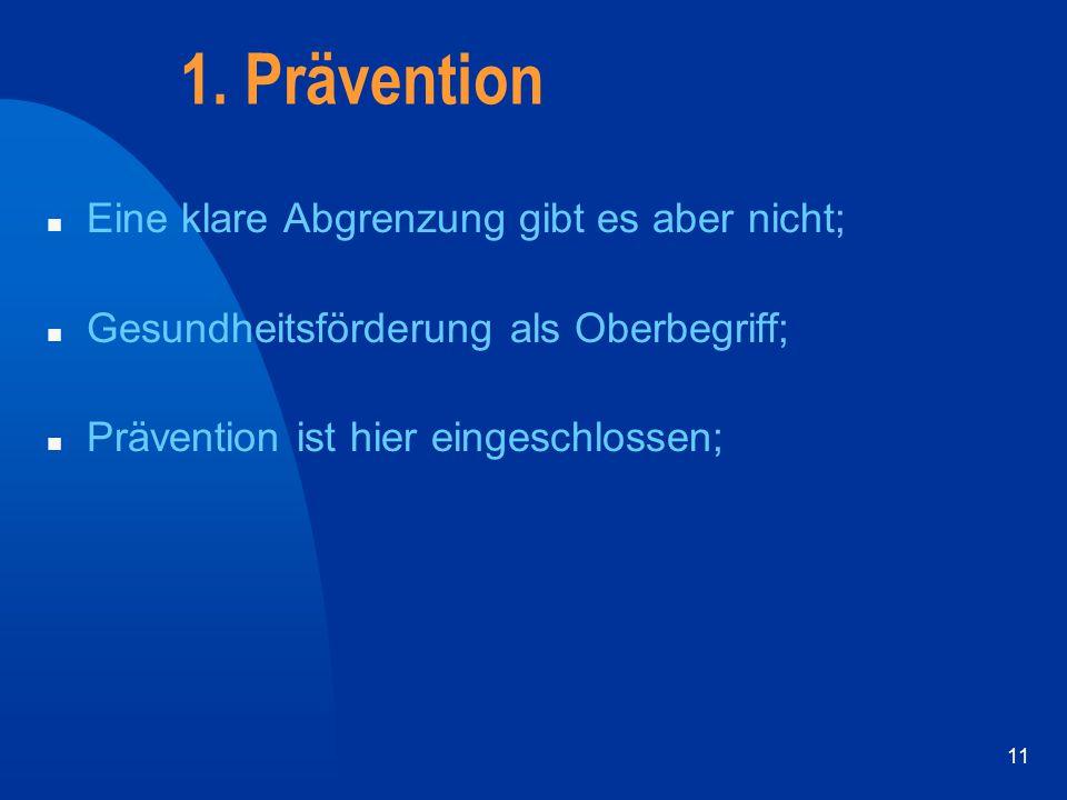 11 1. Prävention n Eine klare Abgrenzung gibt es aber nicht; n Gesundheitsförderung als Oberbegriff; n Prävention ist hier eingeschlossen;