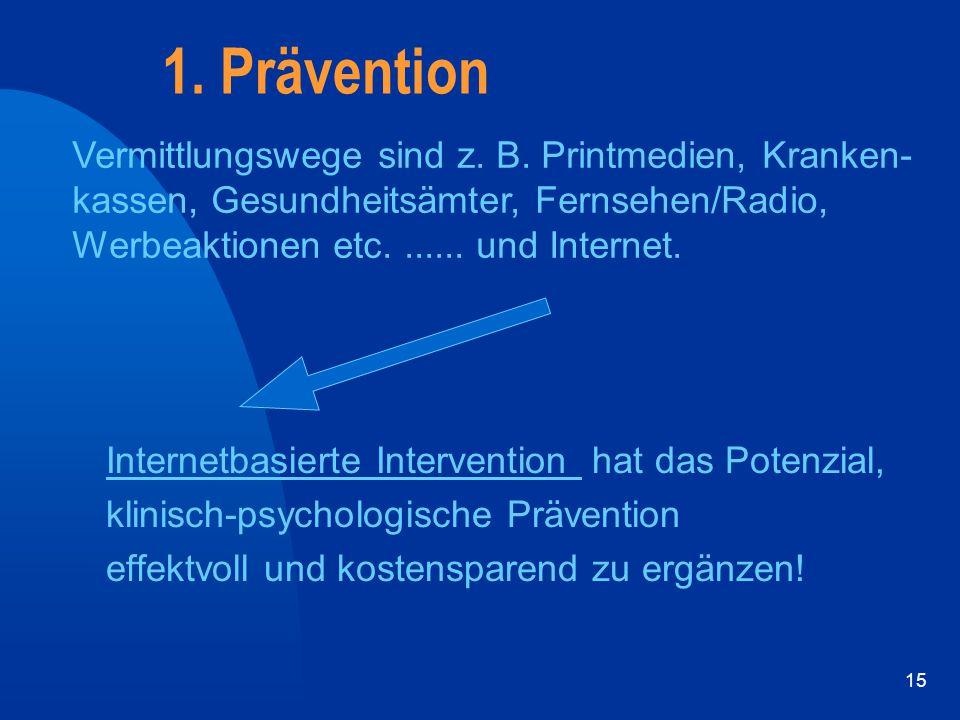 15 1. Prävention Internetbasierte Intervention hat das Potenzial, klinisch-psychologische Prävention effektvoll und kostensparend zu ergänzen! Vermitt