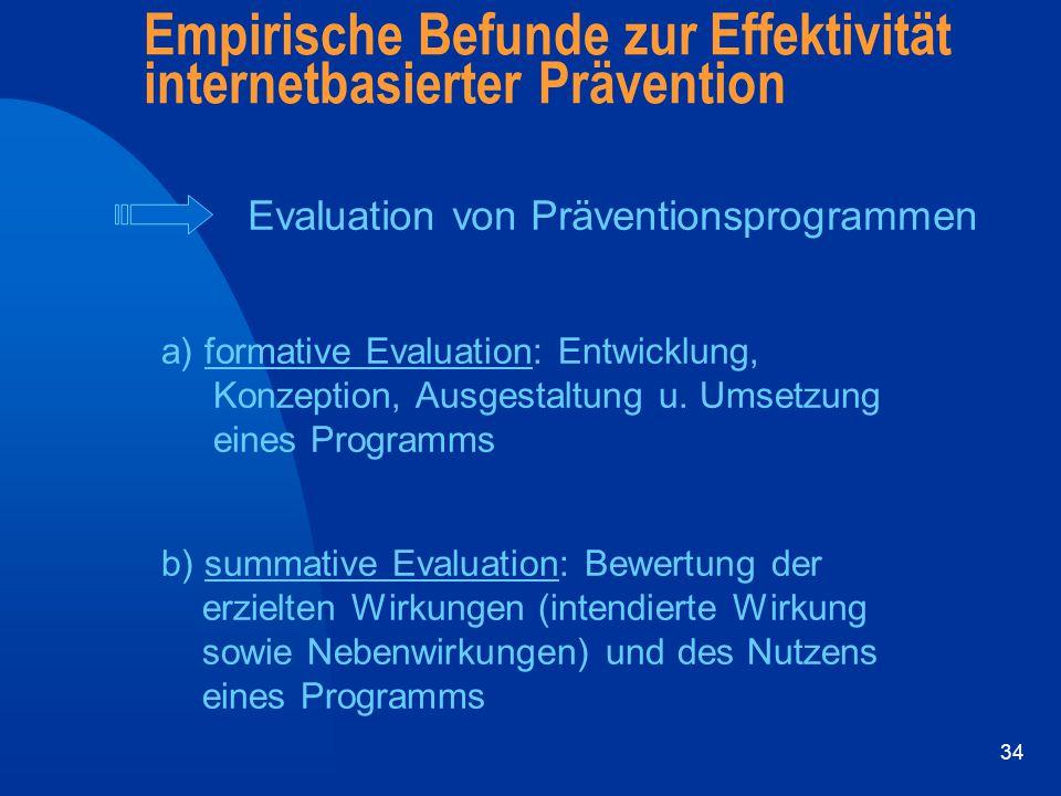 34 Empirische Befunde zur Effektivität internetbasierter Prävention Evaluation von Präventionsprogrammen a) formative Evaluation: Entwicklung, Konzept