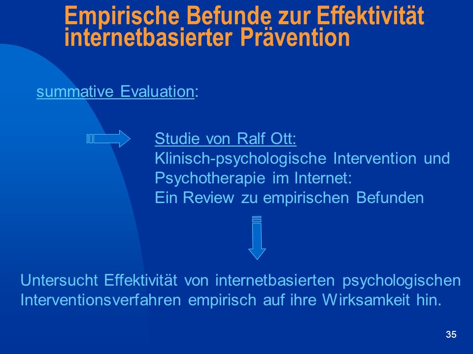 35 Empirische Befunde zur Effektivität internetbasierter Prävention summative Evaluation: Studie von Ralf Ott: Klinisch-psychologische Intervention un