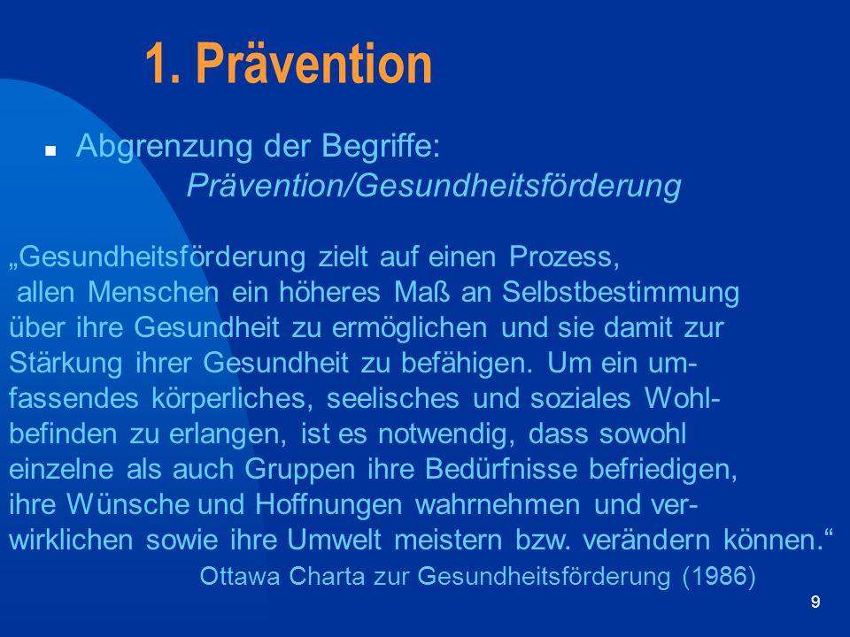 """9 1. Prävention n Abgrenzung der Begriffe: Prävention/Gesundheitsförderung """"Gesundheitsförderung zielt auf einen Prozess, allen Menschen ein höheres M"""