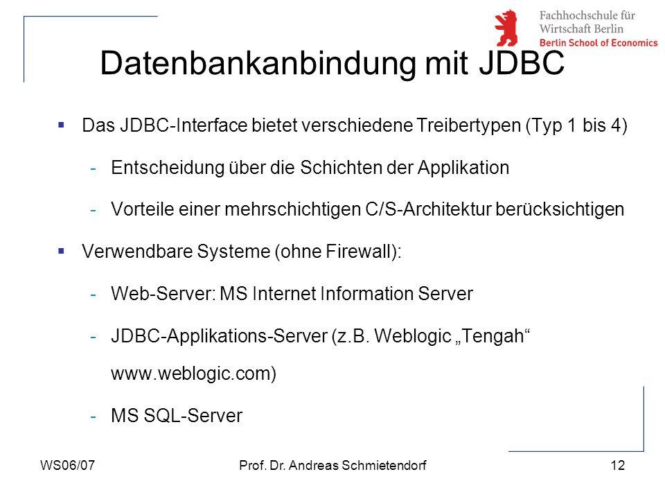WS06/07Prof. Dr. Andreas Schmietendorf13 Datenbankanbindung mit JDBC