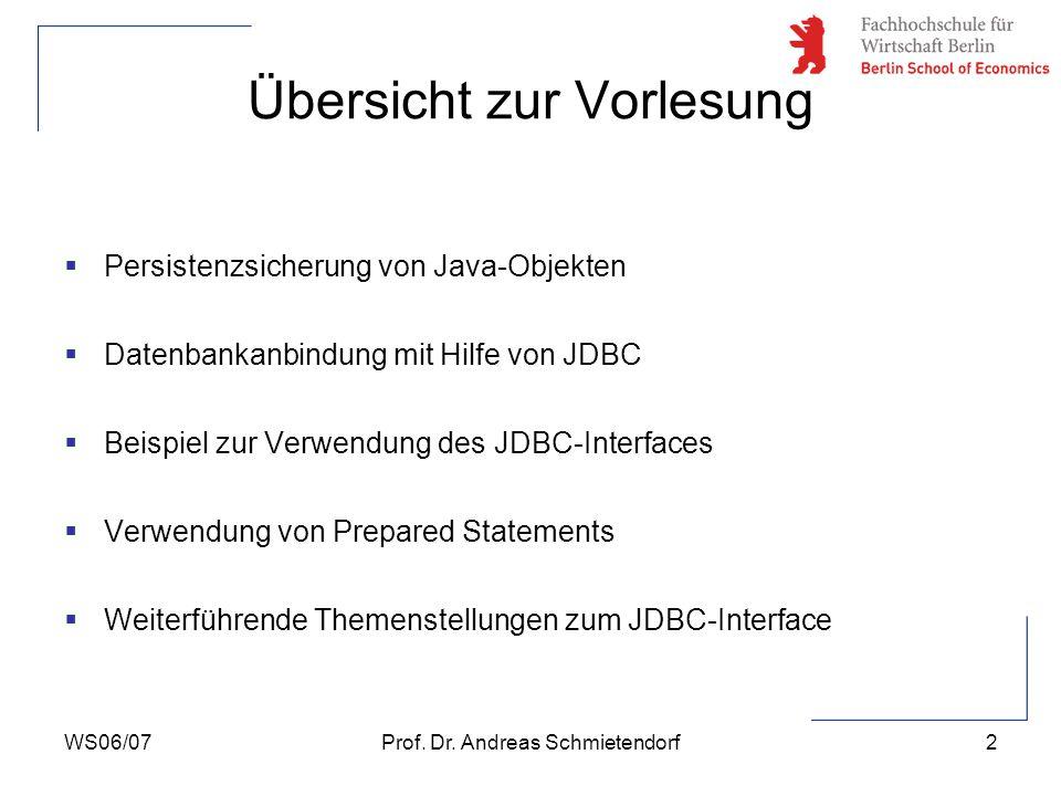 WS06/07Prof. Dr. Andreas Schmietendorf3 Möglichkeiten zur Persistenzsicherung von Java-Objekten