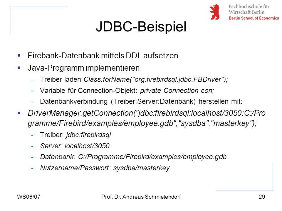 WS06/07Prof. Dr. Andreas Schmietendorf30 JDBC-Beispiel