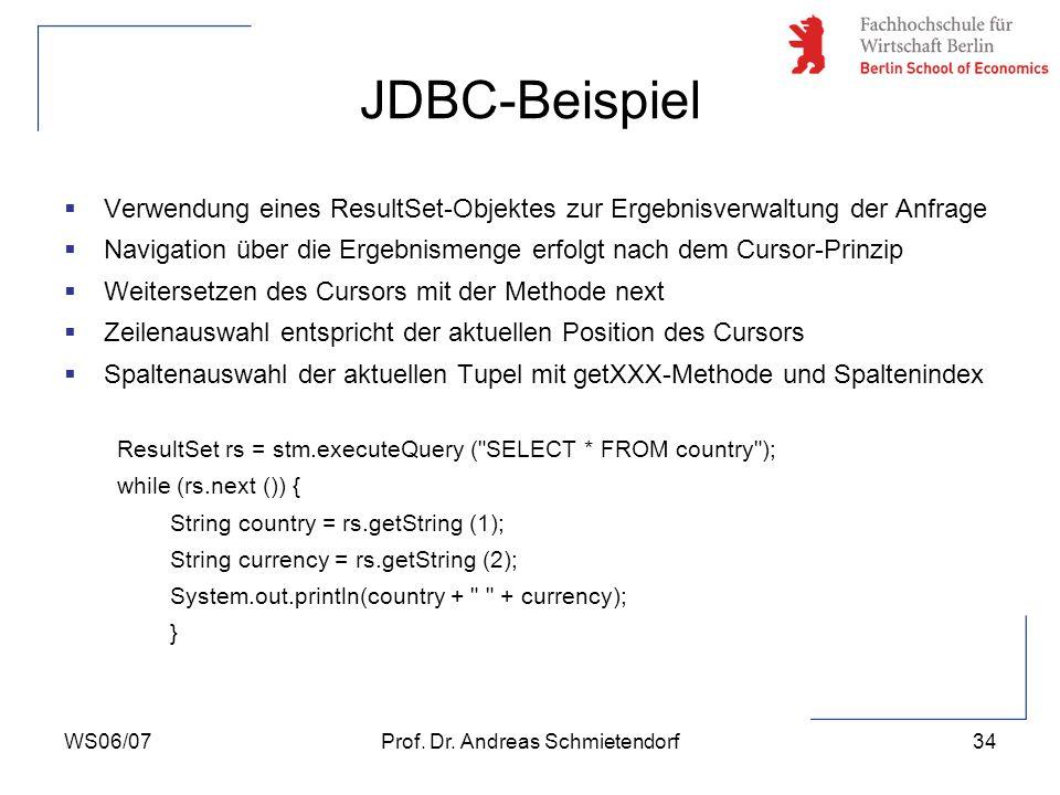 WS06/07Prof. Dr. Andreas Schmietendorf35 JDBC-Beispiel