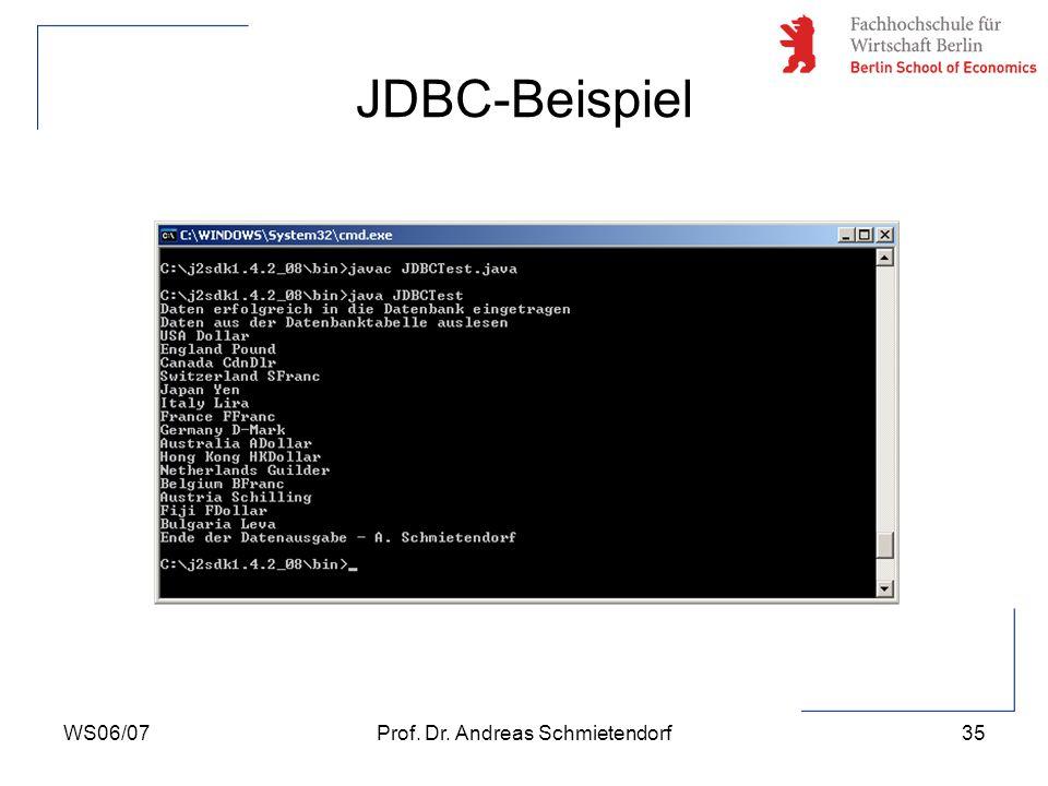 WS06/07Prof. Dr. Andreas Schmietendorf36 Verwendung von Prepared Statements