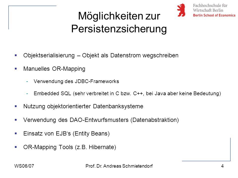 WS06/07Prof. Dr. Andreas Schmietendorf5 Möglichkeiten zur Persistenzsicherung