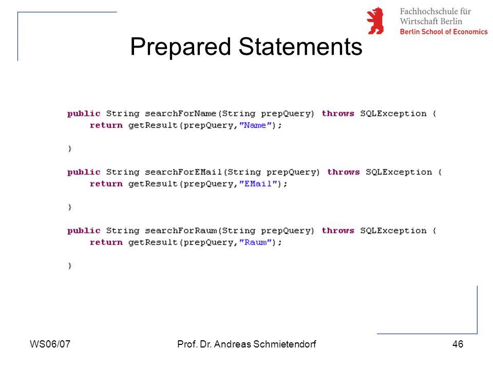 WS06/07Prof. Dr. Andreas Schmietendorf47 Weiterführende Themenstellungen zum JDBC-Interface
