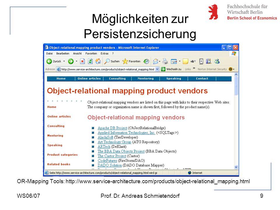 WS06/07Prof. Dr. Andreas Schmietendorf10 Datenbankanbindung mit Hilfe von JDBC