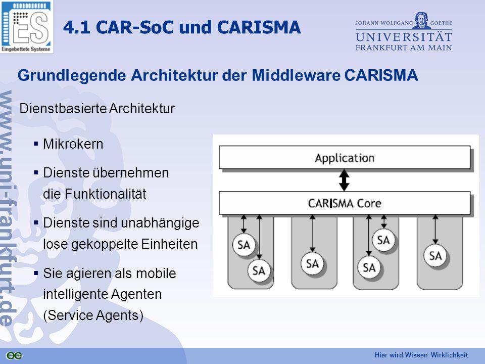 Hier wird Wissen Wirklichkeit Grundlegende Architektur der Middleware CARISMA Dienstbasierte Architektur  Mikrokern  Dienste übernehmen die Funktionalität  Dienste sind unabhängige lose gekoppelte Einheiten  Sie agieren als mobile intelligente Agenten (Service Agents) 4.1 CAR-SoC und CARISMA