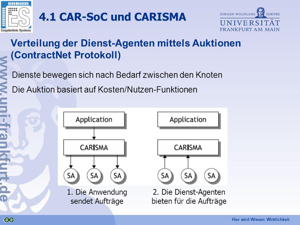 Hier wird Wissen Wirklichkeit Verteilung der Dienst-Agenten mittels Auktionen (ContractNet Protokoll) Dienste bewegen sich nach Bedarf zwischen den Knoten Die Auktion basiert auf Kosten/Nutzen-Funktionen 4.1 CAR-SoC und CARISMA 1.