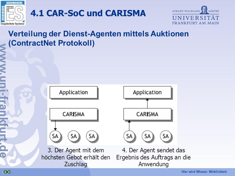 Hier wird Wissen Wirklichkeit Verteilung der Dienst-Agenten mittels Auktionen (ContractNet Protokoll) 4.1 CAR-SoC und CARISMA 3.
