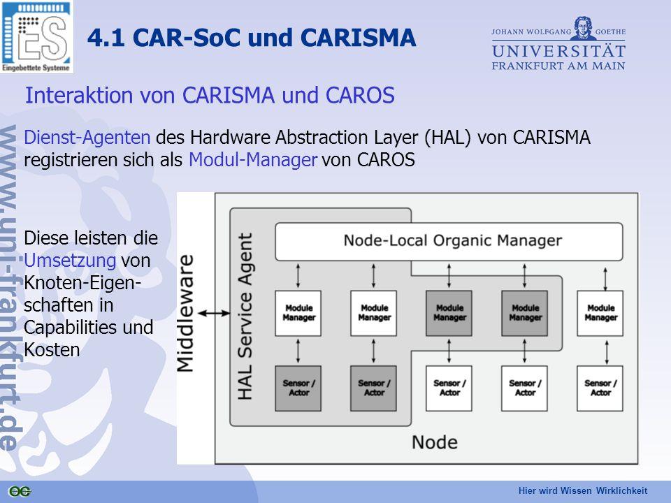Hier wird Wissen Wirklichkeit 4.1 CAR-SoC und CARISMA Interaktion von CARISMA und CAROS Dienst-Agenten des Hardware Abstraction Layer (HAL) von CARISMA registrieren sich als Modul-Manager von CAROS Diese leisten die Umsetzung von Knoten-Eigen- schaften in Capabilities und Kosten