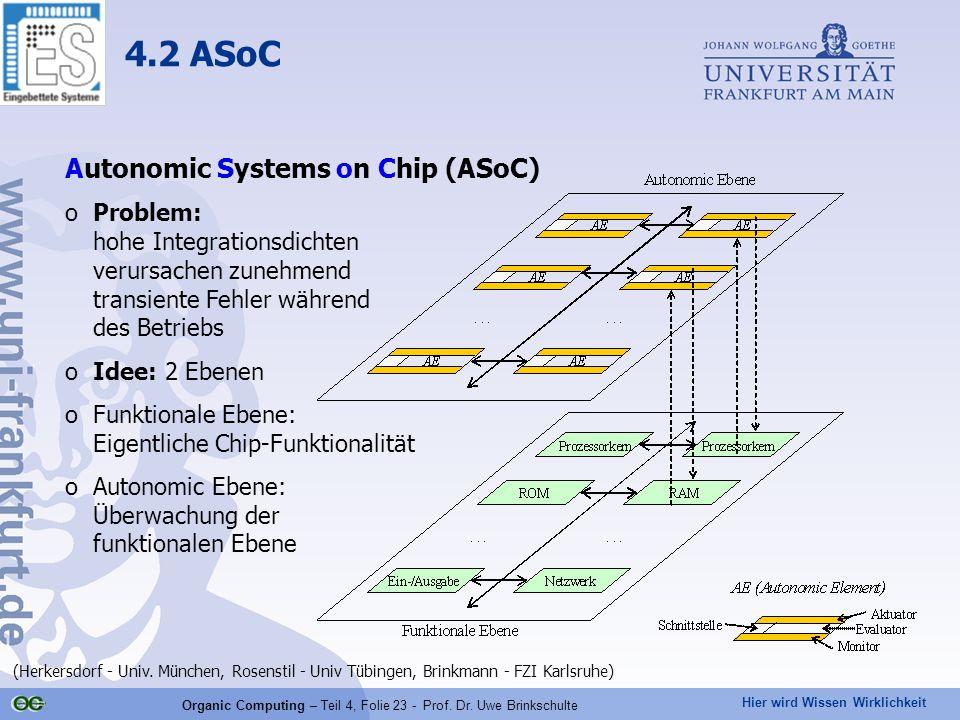 Hier wird Wissen Wirklichkeit Organic Computing – Teil 4, Folie 23 - Prof.