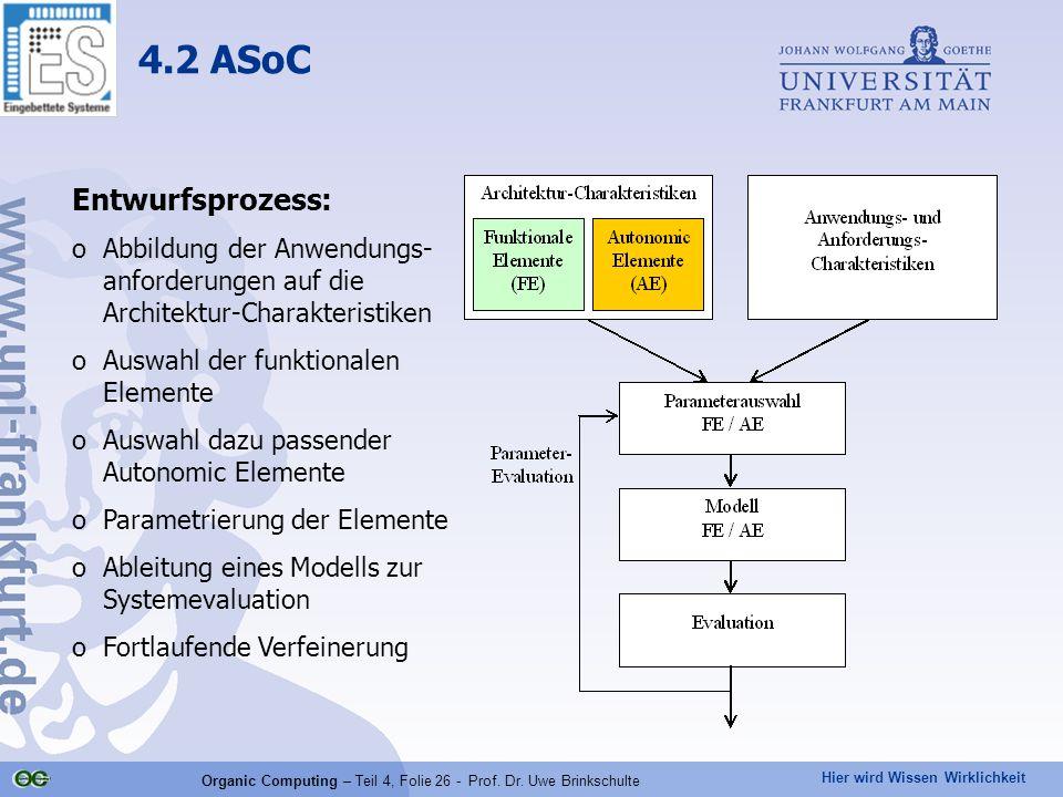 Hier wird Wissen Wirklichkeit Organic Computing – Teil 4, Folie 26 - Prof.