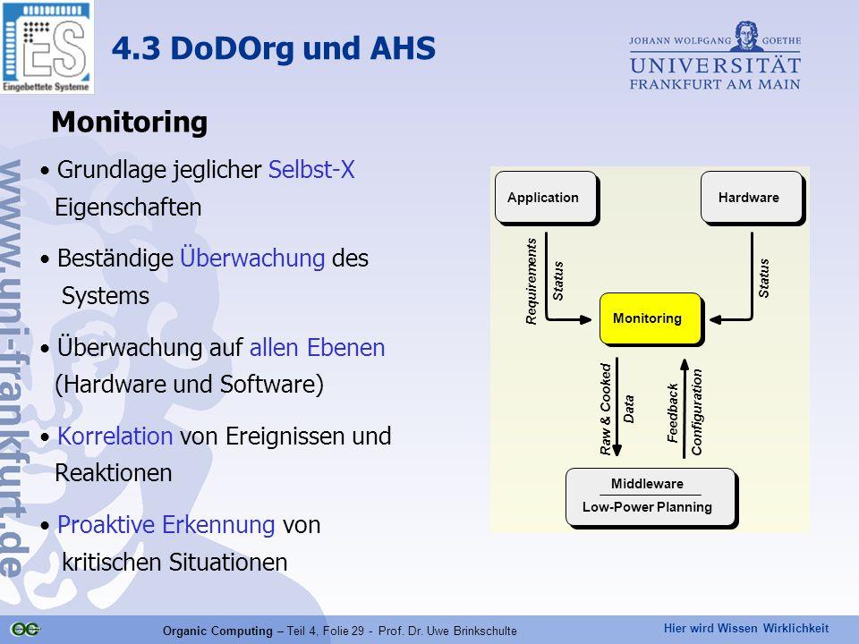 Hier wird Wissen Wirklichkeit Organic Computing – Teil 4, Folie 29 - Prof.