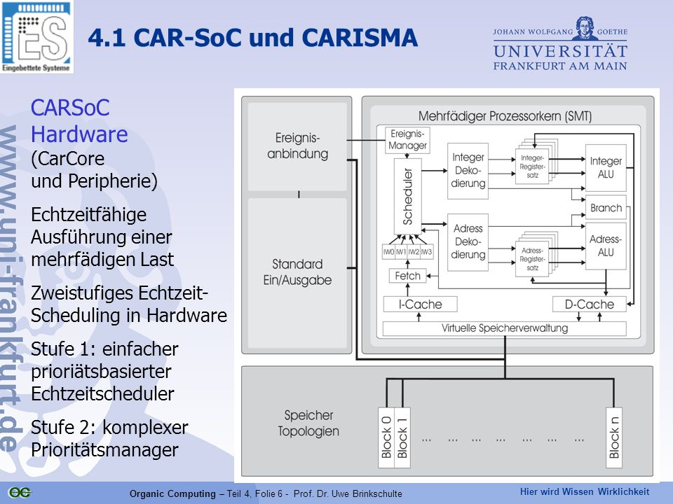 Hier wird Wissen Wirklichkeit Organic Computing – Teil 4, Folie 6 - Prof.