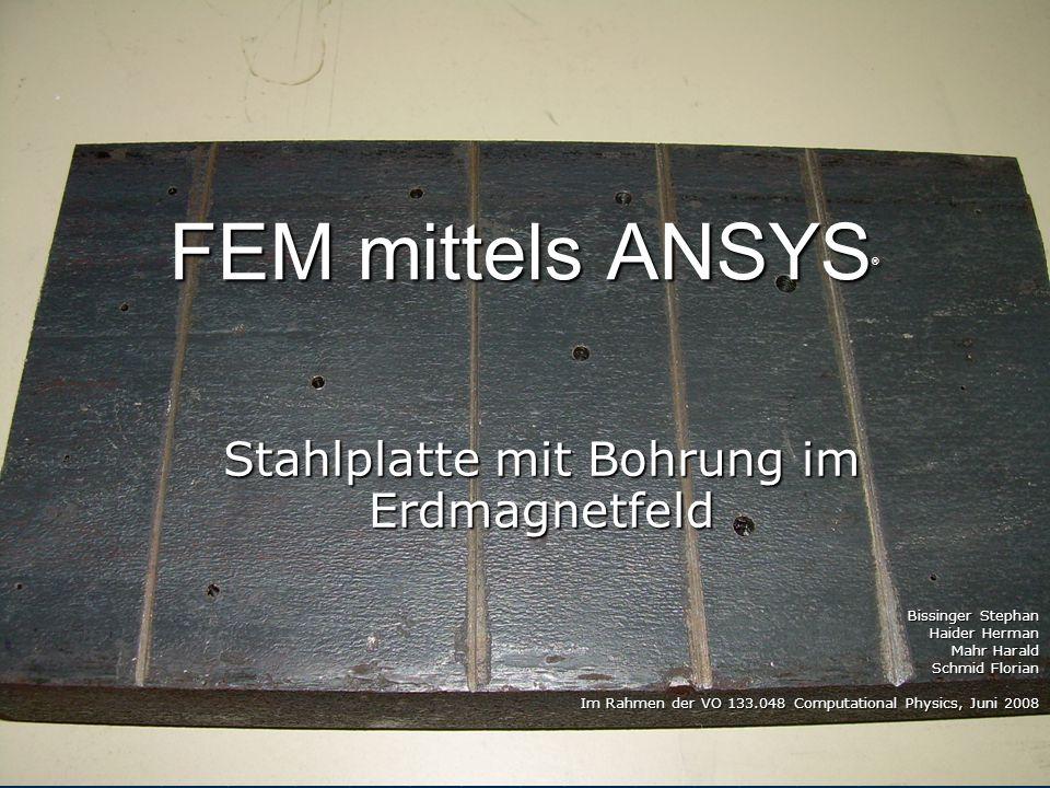 Aufgabenstellung Stahlplatte mit Bohrung im Erdmagnetfeld Stahlplatte mit Bohrung im Erdmagnetfeld
