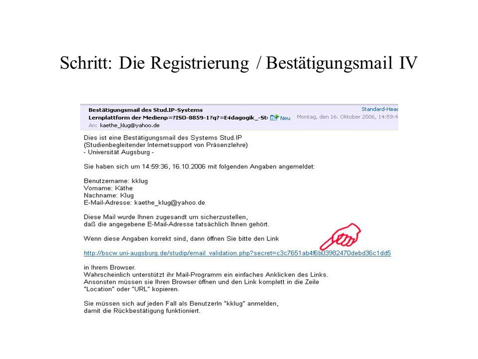 Schritt: Die Registrierung / Bestätigungsmail IV