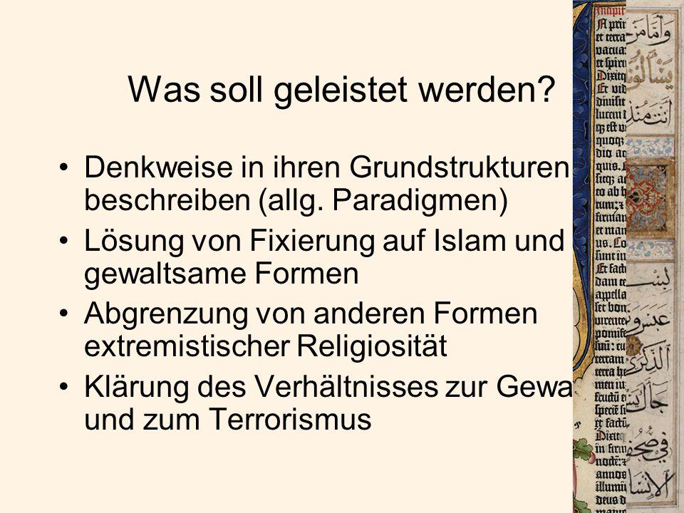 1) Das Weltbild religiöser Fundamentalismen im Detail Selbstwahrnehmung des F.