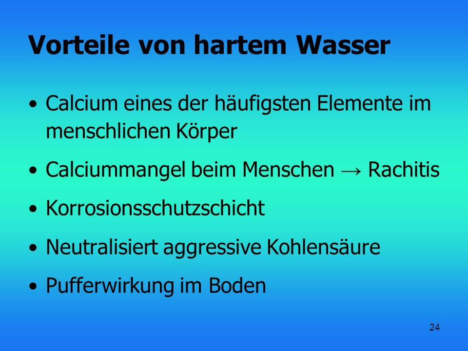 24 Vorteile von hartem Wasser Calcium eines der häufigsten Elemente im menschlichen Körper Calciummangel beim Menschen → Rachitis Korrosionsschutzschi
