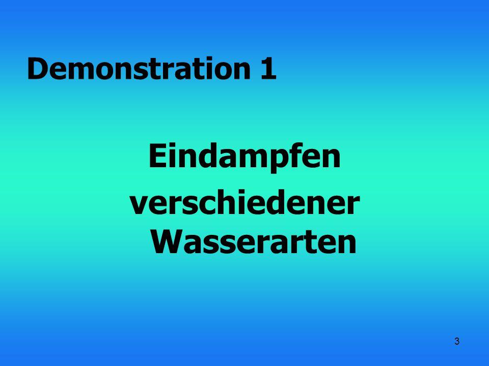 3 Eindampfen verschiedener Wasserarten Demonstration 1