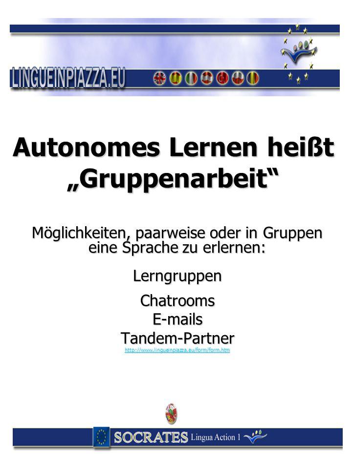 """Autonomes Lernen heißt """"Gruppenarbeit"""" Möglichkeiten, paarweise oder in Gruppen eine Sprache zu erlernen: LerngruppenChatroomsE-mailsTandem-Partner ht"""