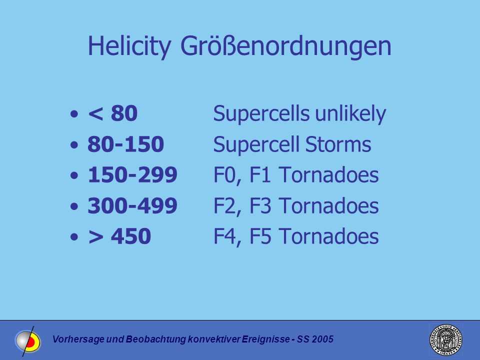 Vorhersage und Beobachtung konvektiver Ereignisse - SS 2005 Helicity Größenordnungen < 80Supercells unlikely 80-150Supercell Storms 150-299F0, F1 Tornadoes 300-499F2, F3 Tornadoes > 450F4, F5 Tornadoes