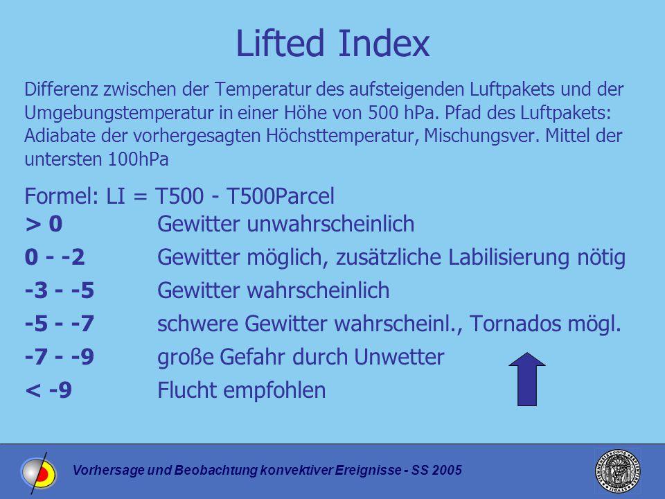 Vorhersage und Beobachtung konvektiver Ereignisse - SS 2005 Lifted Index Differenz zwischen der Temperatur des aufsteigenden Luftpakets und der Umgebungstemperatur in einer Höhe von 500 hPa.