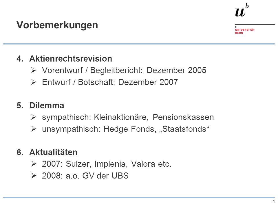 """44 Vorbemerkungen 4.Aktienrechtsrevision  Vorentwurf / Begleitbericht: Dezember 2005  Entwurf / Botschaft: Dezember 2007 5.Dilemma  sympathisch: Kleinaktionäre, Pensionskassen  unsympathisch: Hedge Fonds, """"Staatsfonds 6.Aktualitäten  2007: Sulzer, Implenia, Valora etc."""