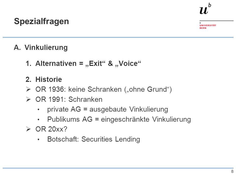 """88 Spezialfragen A.Vinkulierung 1.Alternativen = """"Exit & """"Voice 2.Historie  OR 1936: keine Schranken (""""ohne Grund )  OR 1991: Schranken private AG = ausgebaute Vinkulierung Publikums AG = eingeschränkte Vinkulierung  OR 20xx."""