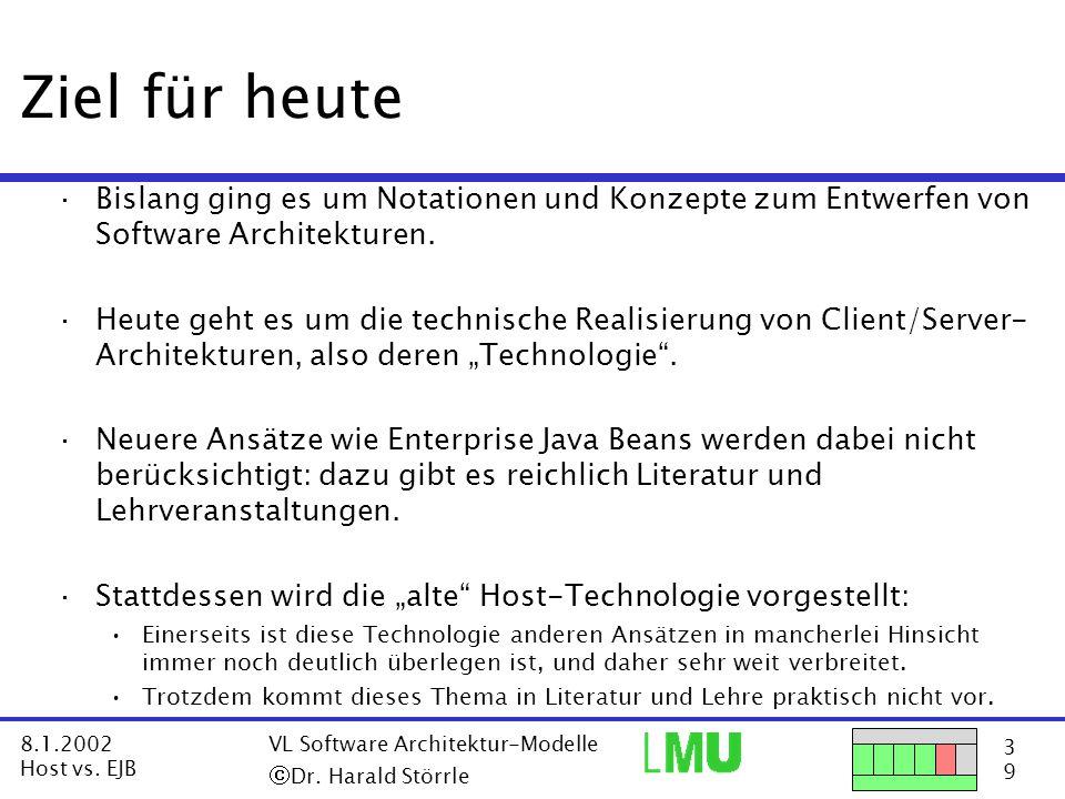 14 9 8.1.2002 Host vs.EJB VL Software Architektur-Modelle  Dr.