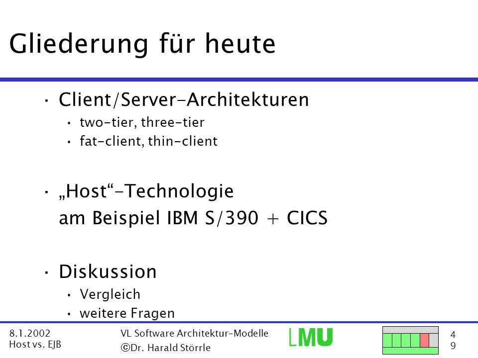 15 9 8.1.2002 Host vs.EJB VL Software Architektur-Modelle  Dr.