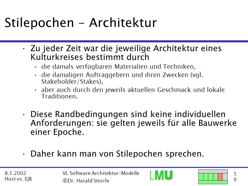 6969 8.1.2002 Host vs.EJB VL Software Architektur-Modelle  Dr.