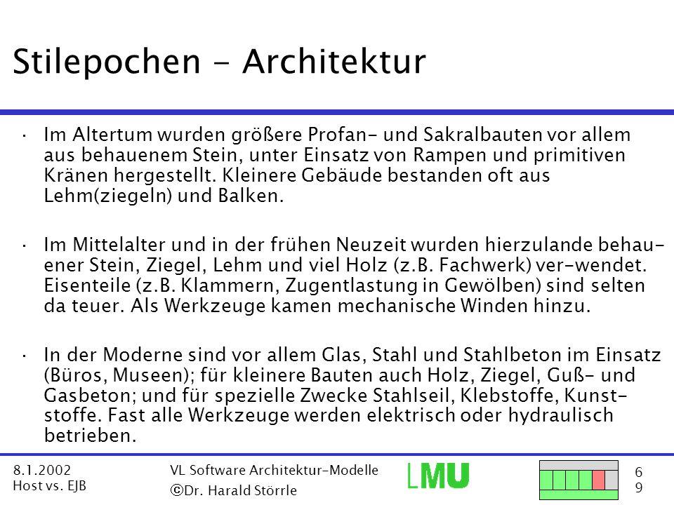 27 9 8.1.2002 Host vs.EJB VL Software Architektur-Modelle  Dr.
