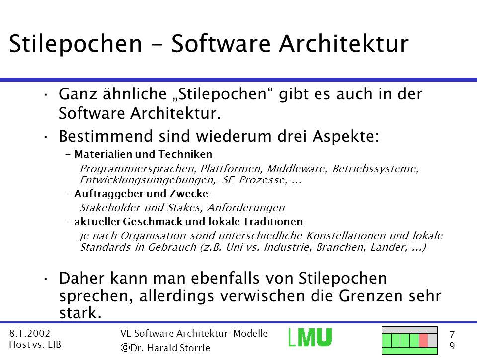 18 9 8.1.2002 Host vs.EJB VL Software Architektur-Modelle  Dr.