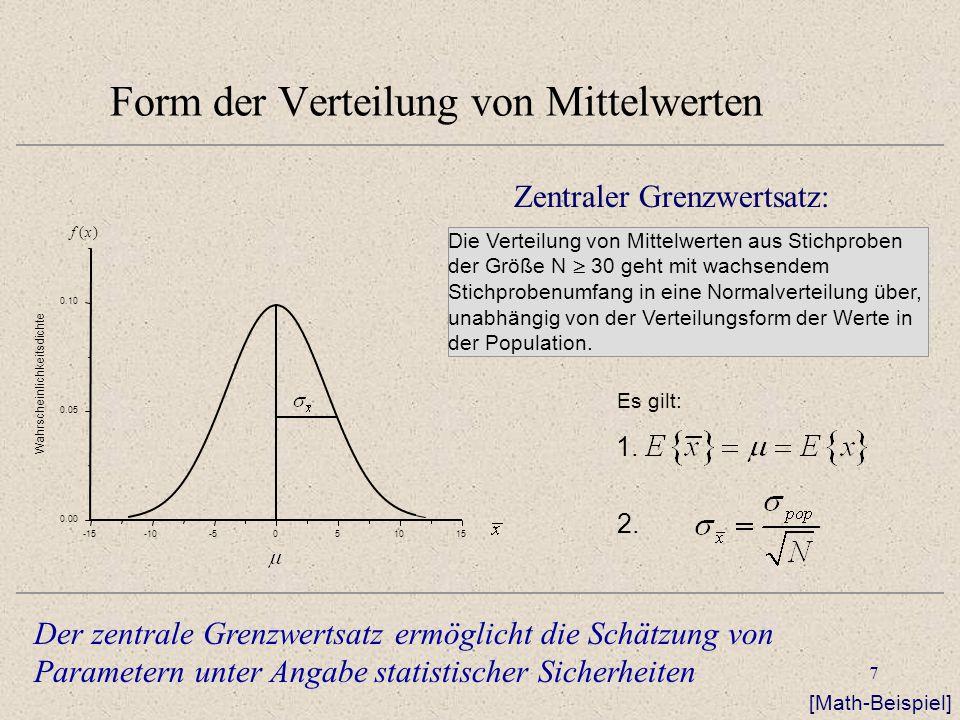 8 Form der Verteilung von Mittelwerten -15-10-5051015 0.00 0.05 0.10 Wahrscheinlichkeitsdichte f(x) Schätzung des Standardfehlers Der Standardfehler wird geschätzt über die Schätzung der Populationsvarianz aus der Stichprobenvarianz da