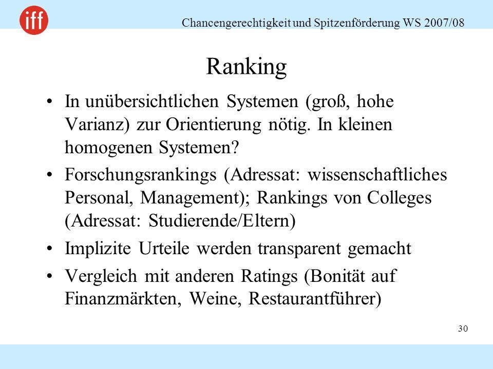 Chancengerechtigkeit und Spitzenförderung WS 2007/08 30 Ranking In unübersichtlichen Systemen (groß, hohe Varianz) zur Orientierung nötig.