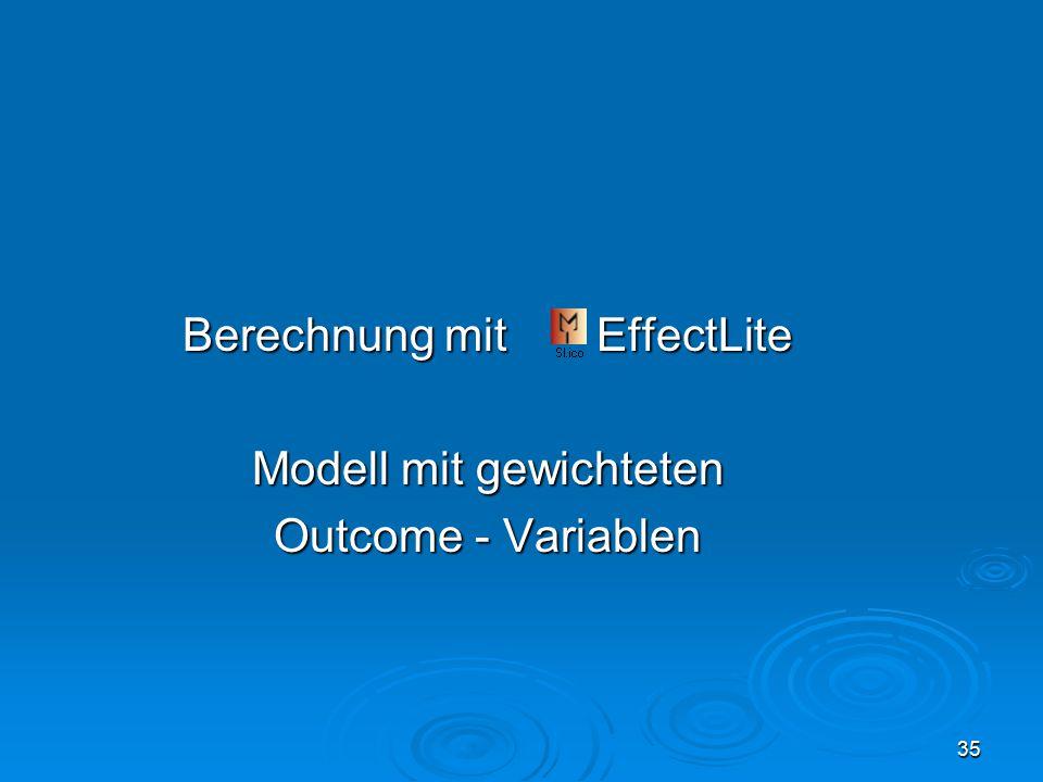 35 Berechnung mit EffectLite Modell mit gewichteten Outcome - Variablen