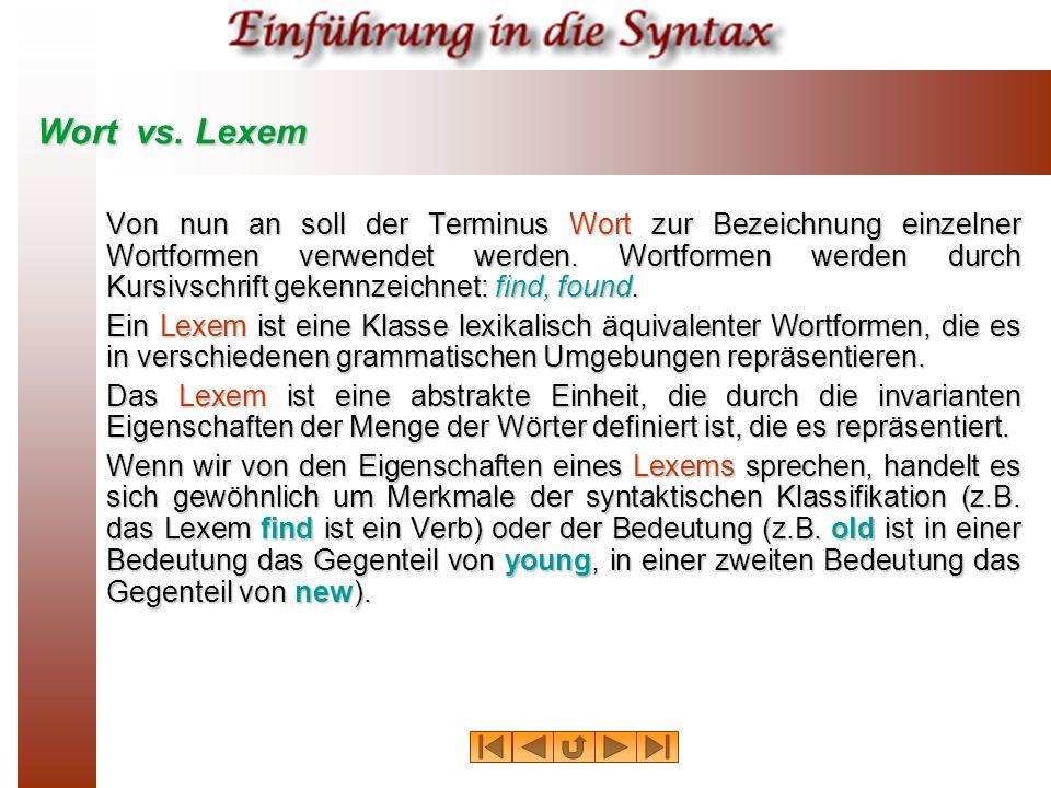 Wort vs. Lexem Von nun an soll der Terminus Wort zur Bezeichnung einzelner Wortformen verwendet werden. Wortformen werden durch Kursivschrift gekennze