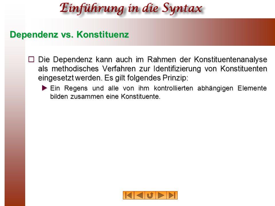 Dependenz vs. Konstituenz  Die Dependenz kann auch im Rahmen der Konstituentenanalyse als methodisches Verfahren zur Identifizierung von Konstituente