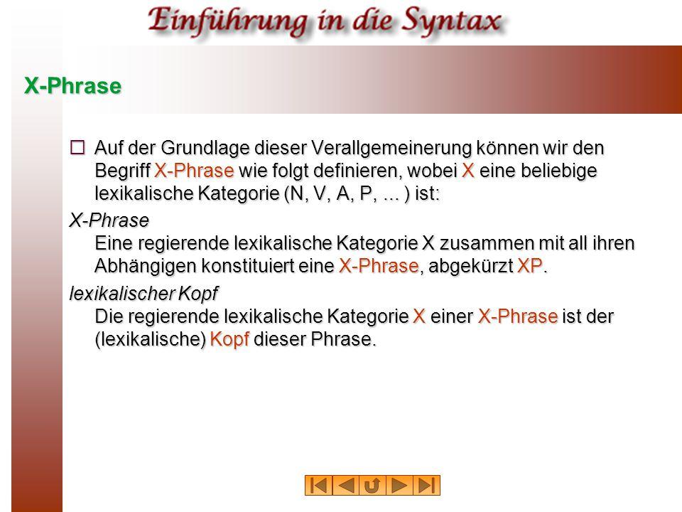X-Phrase  Auf der Grundlage dieser Verallgemeinerung können wir den Begriff X-Phrase wie folgt definieren, wobei X eine beliebige lexikalische Katego