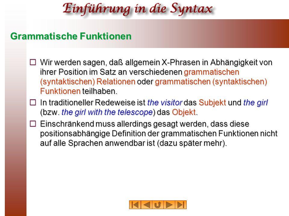Grammatische Funktionen  Wir werden sagen, daß allgemein X-Phrasen in Abhängigkeit von ihrer Position im Satz an verschiedenen grammatischen (syntakt