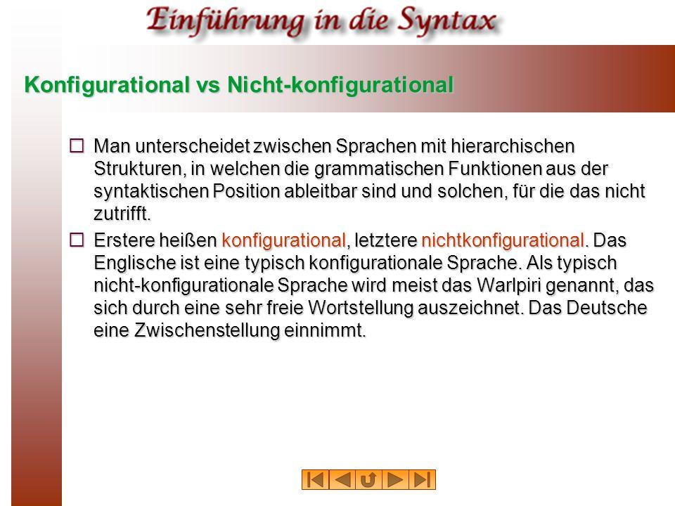 Konfigurational vs Nicht-konfigurational  Man unterscheidet zwischen Sprachen mit hierarchischen Strukturen, in welchen die grammatischen Funktionen