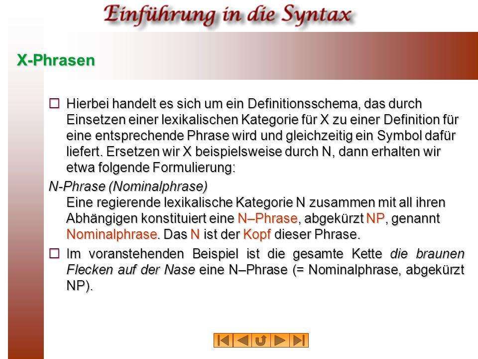 X-Phrasen  Hierbei handelt es sich um ein Definitionsschema, das durch Einsetzen einer lexikalischen Kategorie für X zu einer Definition für eine ent