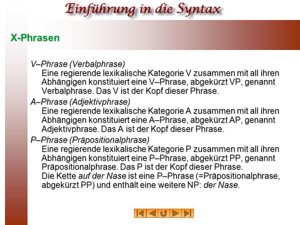 X-Phrasen V–Phrase (Verbalphrase) Eine regierende lexikalische Kategorie V zusammen mit all ihren Abhängigen konstituiert eine V–Phrase, abgekürzt VP,