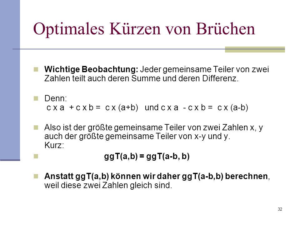 32 Optimales Kürzen von Brüchen Wichtige Beobachtung: Jeder gemeinsame Teiler von zwei Zahlen teilt auch deren Summe und deren Differenz. Denn: c x a