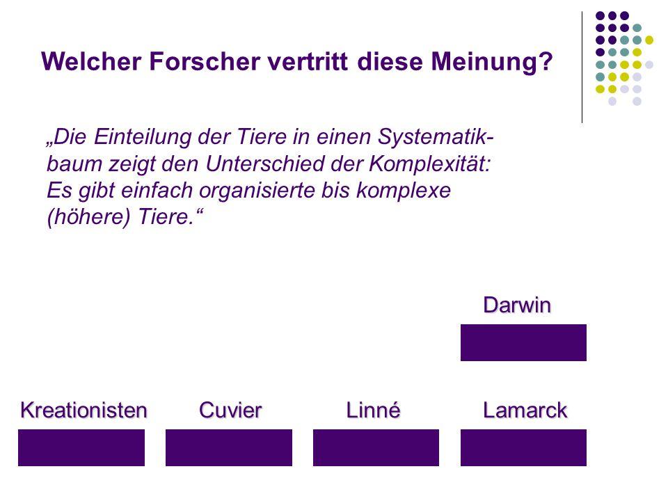 """Welcher Forscher vertritt diese Meinung? KreationistenLamarckLinnéCuvier Darwin """"Die Einteilung der Tiere in einen Systematik- baum zeigt den Untersch"""