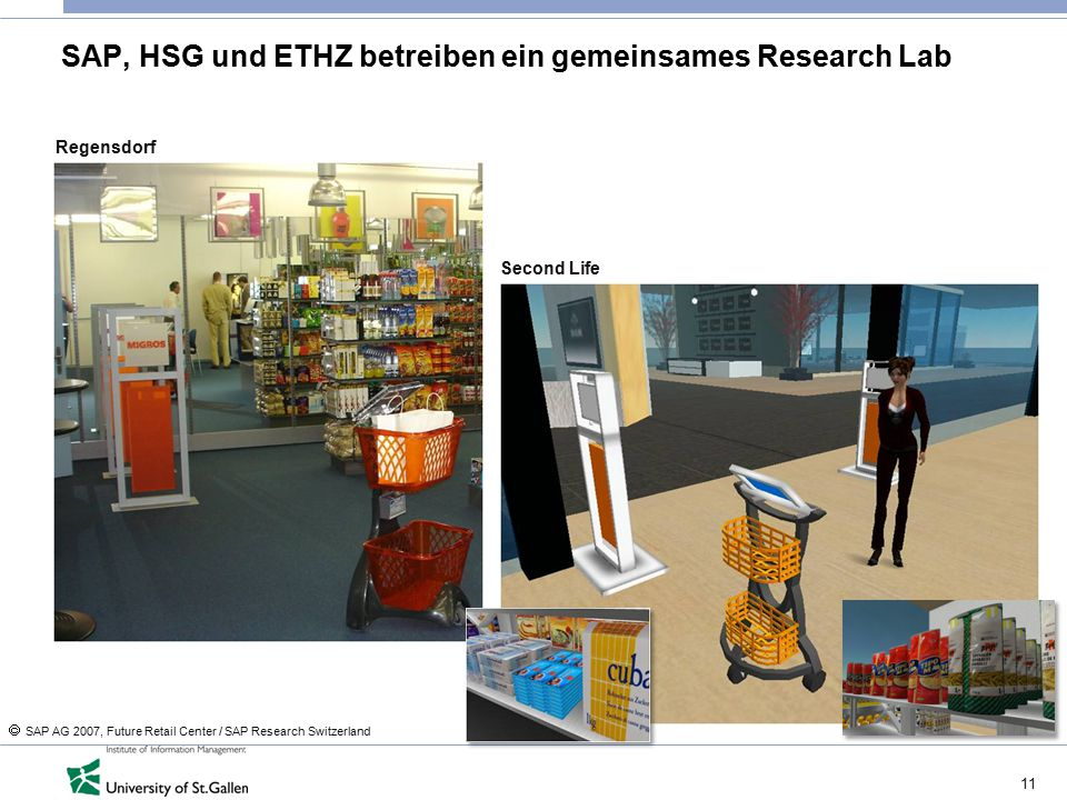 11 SAP, HSG und ETHZ betreiben ein gemeinsames Research Lab Regensdorf Second Life  SAP AG 2007, Future Retail Center / SAP Research Switzerland